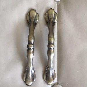 Antique brass door handles. 5.5 inches long.
